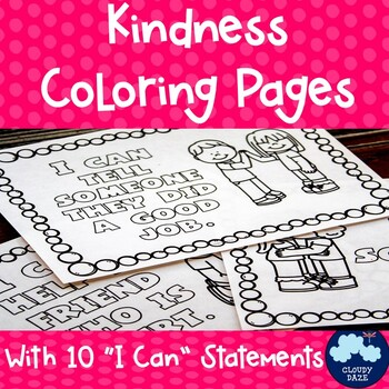 Kindness Coloring Pages With I Can Statements Back To School