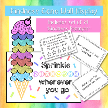 Kindness Cone Wall Display & Set of 24 Kindness Prompts