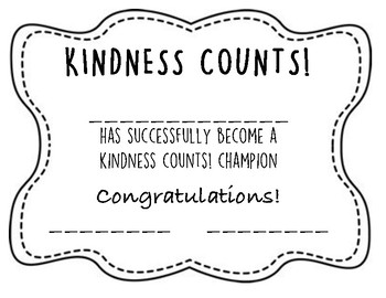 Kindness Count Certificate Award