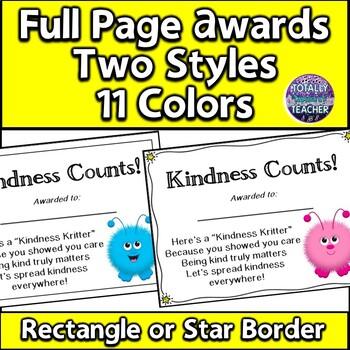 Kindness Counts Award -  Good Character Traits - Warm Fuzzies