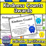 Kindness Counts Award Certificates - {SEL Good Character Traits}