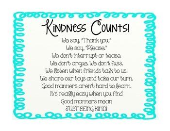 Kindness Counts! Poem Poster