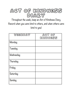 Kindness Diary/Log
