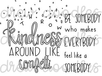 Kindness Doodles Digital Clip Art Set- Black Line Version