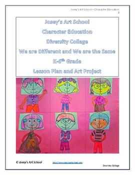 Kindness Education Diversity Symmetry Kids Collage Character Art Lesson K-4th