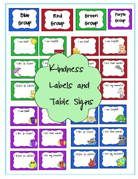 Kindness Labels and Table Group Signs