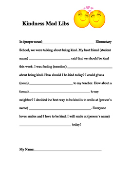 Kindness Mad Lib