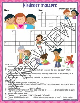Kindness Matters Be Kind Crossword Puzzle and Word Search Find Activities