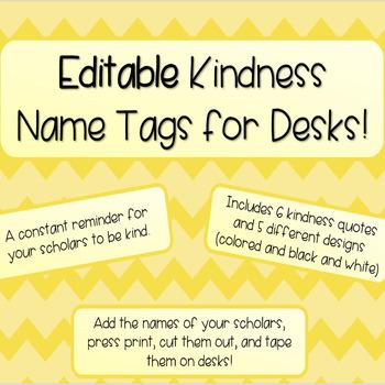 Kindness Name Tags for Desks (EDITABLE!)