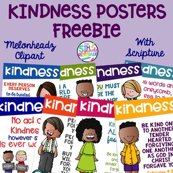 8 Kindness Posters FREEBIE with Scripture Bible Verses