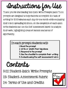 Kindness Quick Write Prompts