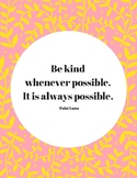 Kindness Quote Poster for Bullying Prevention Month