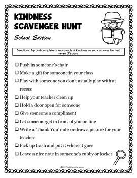 Kindness Scavenger Hunt Freebie