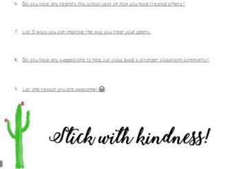 Kindness Self Reflection- Classroom Community