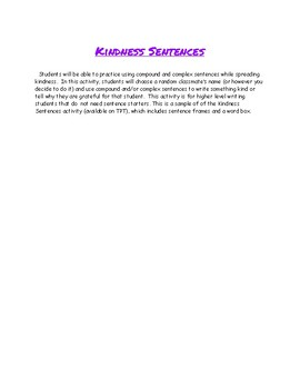 Kindness Sentences #Kindnessnation