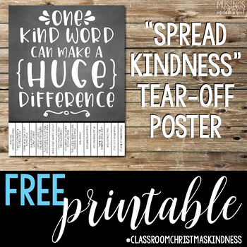 Kindness Tear-Off Poster #ClassroomChristmasKindness