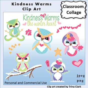 Owl Clip Art   Kindness Warms  Color  personal & commercial use