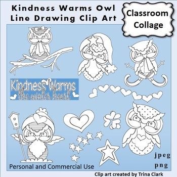 Owl Clip Art - Kindness Warms - line drawings B/W personal & commercial use