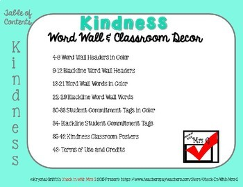 Kindness Word Wall & Classroom Posters