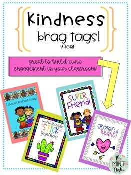 Kindness and Friendship Brag Tag Pack! Color and Black and White Versions!
