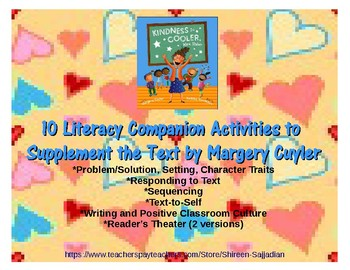 Kindness is Cooler Mrs. Ruler Literacy Companion Activities to Supplement Text