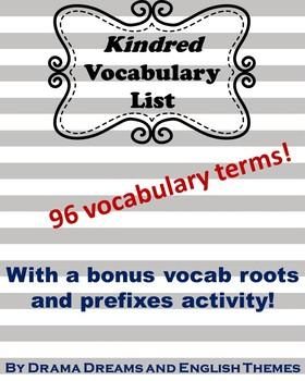 Kindred Novel Vocabulary List