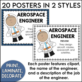 Kinds of Engineers Posters for 1st and 2nd Grades in Primary Colors