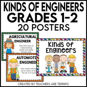 Kinds of Engineers Posters for 1st and 2nd Grades in Prima