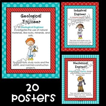 Kinds of Engineers Posters in Red and Teal