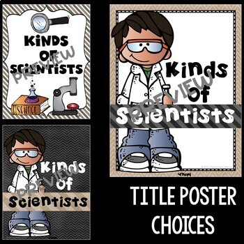 Kinds of Science and Scientists Posters in Burlap and Chalkboard