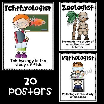 Kinds of Science and Scientists Posters featuring White Backgrounds