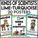 Kinds of Scientists Posters in Lime and Turquoise