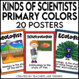 Kinds of Scientists Posters in Primary Colors