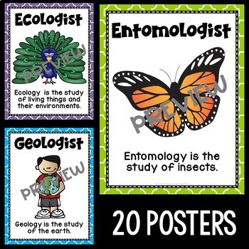 Kinds of Scientists Posters in Purple, Lime, and Turquoise