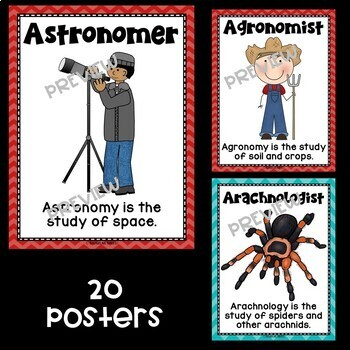 Kinds of Scientists Posters in Red and Teal