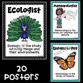 Kinds of Scientists Posters in Teal and Black