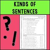 Kinds of Sentences Assessment--Statements, Commands, Quest