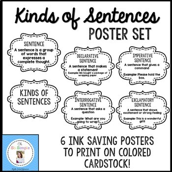 Kinds of Sentences Chalkboard Posters