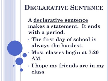 Kinds of Sentences PowerPoint to accompany Houghton Mifflin English 7