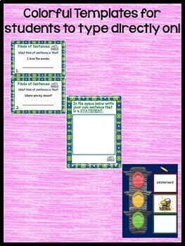 Kinds of Sentences  ELA Grammar Practice Task Cards for Google Classroom