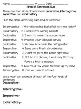 Kinds of Sentences Quiz