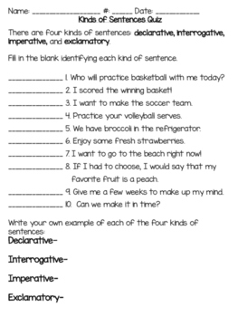 Kinds of Sentences Quiz