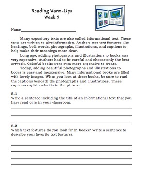 Kinds of Text Warm-Ups for Teaching about Narrative and Expository Text
