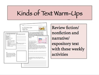 Kinds of Text Warm-Ups for Teaching about Narrative and Ex