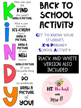Kindy Back to School Activity