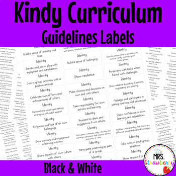 Kindy Curriculum Guidelines Labels/ Tags - Black and White