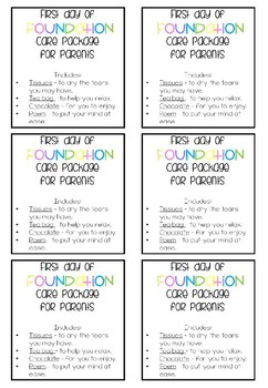 Kindergarten/Prep/Foundation Care Package Tag and Poem For Parents (Editable)