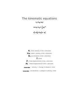 Kinematic equations