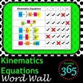 Kinematics Equations Word Wall