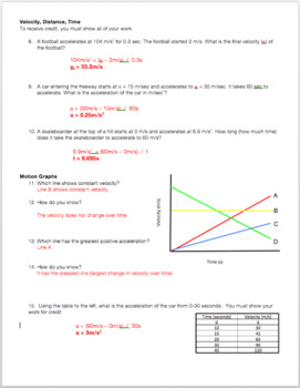 Kinematics Exam: Velocity, Distance, Time & Acceleration